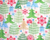 COUPON CODE SALE - End of Bolt - Maywood Studio, All Wrapped Up, Christmas Trees, 100% Cotton Quilt Fabric, Holiday, Quilting Fabric