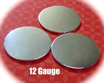 """10 Discs 1"""" 12 Gauge Polished Discs Round Blanks VERY Thick -  Pure Food Safe 1100 Aluminum - Very Clean Metal Stamping Blank"""
