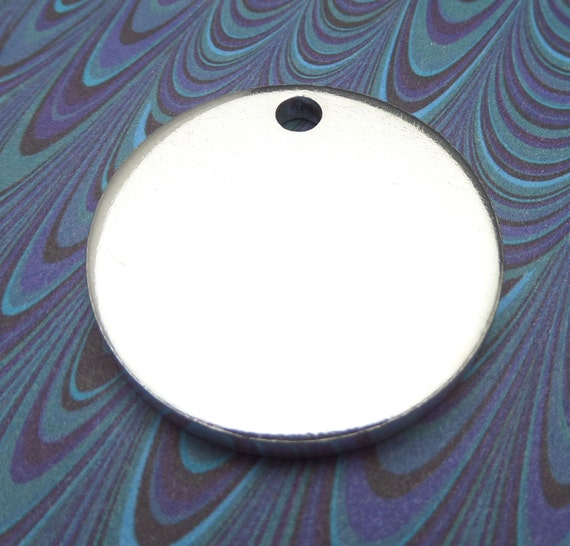 "10 Polished 1.25 Inch Discs 8 Gauge ONE 5mm HOLE Pure Food Safe Metal Almost 1/4"" Thick - 10 Discs"