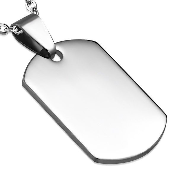 8 Blanks - 20x30mm Stainless Steel Engravable Dog Tag Charm Pendant Tag (1.18 x 0.78 inch) - 316L SURGICAL STEEL