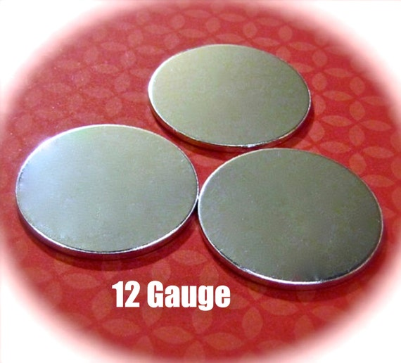 "10 Discs 1"" 12 Gauge Polished Discs Round Blanks VERY Thick -  Pure Food Safe 1100 Aluminum - Very Clean Metal Stamping Blank"