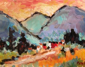 Original Impressionist Landscape Painting, mountain country setting, Vermont Hills sunset orange, blue