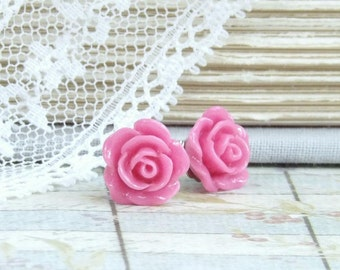 Pink Rose Studs Rose Stud Earrings Pink Flower Earrings Hypoallergenic Pink Rose Earrings Small Rose Earrings