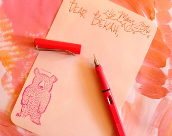 mint bear stationery, for writing a letter to your goofy woodland-loving friend. choose your color - hot pink or mint green. both adorbs.