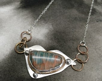 Sifjar aqua and orange striped ocean wave jasper and sterling silver pendant with rose gold filled accents
