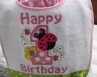 Ladybug bib, pink ladybug birthday bib, 1st birthday party, 2nd birthday party,smash cake bib, smash cake photo