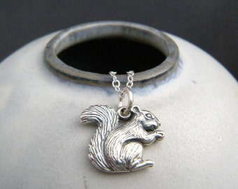 """silver squirrel necklace. small sterling animal love pendant. realistic charm simple jewelry collectors gift woodland forest nature 5/8"""""""