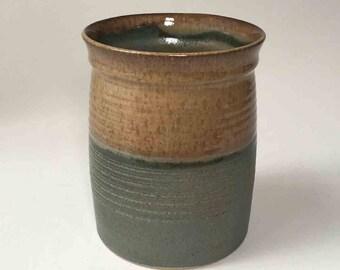 Browns with Woodland Green Stoneware Utensil Holder, Kitchen Wooden Spoon Vase, Housewarming Gift, Stoneware Wine Chiller