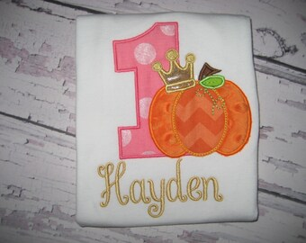 Baby girl Birthday number one bodysuit, princess bodysuit, fall princess, first birthday, pumpkin bodysuit