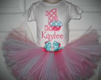 First Birthday pink and aqua Cupcake monogrammed tutu set