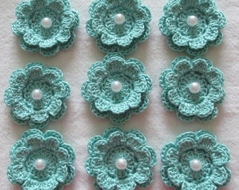 Aqua Flower Appliques, Two-Layer Flowers with Beads, Handmade, set of 9
