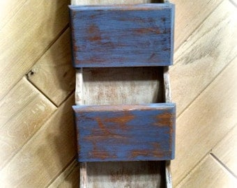 Wooden Mail Holder / Wooden Key Rack / Up-Cycled Holder / Handmade Mail Holder / Wall Mount Mail Holder