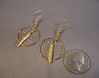 Golden Summer Dream Catcher 14Karat Gold Plate Earring