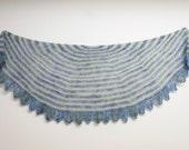 Ocean Breeze Cashmere Hand knit Shawl shawl, Blue Turquoise Green, Suri Alpaca, Cashmere, Silk, Blue Green Grey Tan