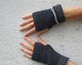 men's fingerless gloves/ black cotton charcoal hemp cuff crochet