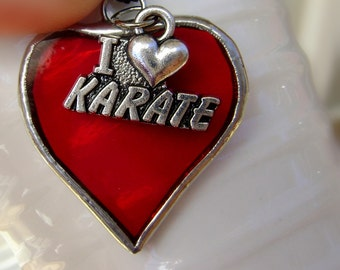 Hearts Karate I Love Karate Martial Arts Stained Glass Christmas Necklace Jewelry Red Canadian Handmade Original Design©