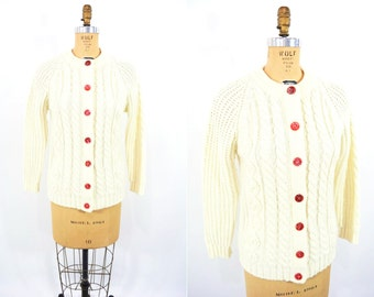 1970s cream cardigan   cream acrylic red button thick sweater   vintage 70s cardigan   S/M