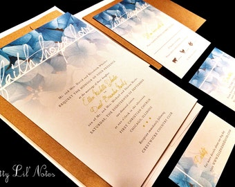 Watercolor Hydrangea Floral Custom Wedding Invitation Faith Hope Love Blue Gray Yellow Spring Summer Fall Modern Simple Painted Quote Garden