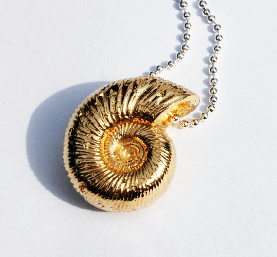 14k Gold Plated Brass and Sterling Silver Ammonite Necklace