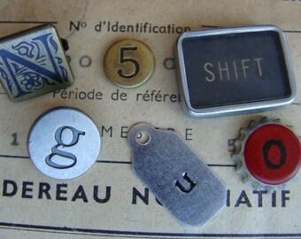"""Vintage Metal Numbers Typewriter Keys Mixed Steampunk N0"""" identification 85"""
