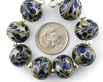 Silver Blue on Silver and Gold Foil Murano Glass Round lampwork beads - Made to Order