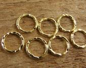 24K Gold Vermeil Links - 7 Pieces - Textured Artisan Closed Jumprings - lvtajr