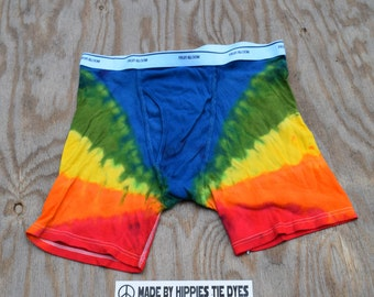Rainbows End Tie Dye Men's Underwear (Fruit of the Loom Boxer Briefs Size 3XL) (One of a Kind)