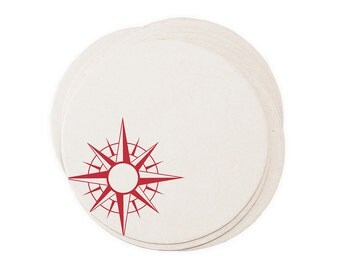 Nautical Compass - Letterpressed Paper Coasters