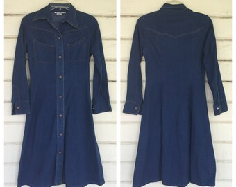 1970s CALIFORNIA DENIM shirt DRESS