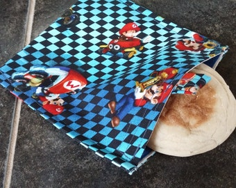 Mario Reusable Snack Bag Eco Friendly / 2 sizes / Choice of Lining