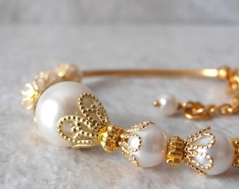 Pearl Wedding Jewelry Bridesmaid Bracelet Ivory Pearl Bracelet Gold Plated Handmade Gift for Bridesmaids Bridal Party Jewelry Sets Off White