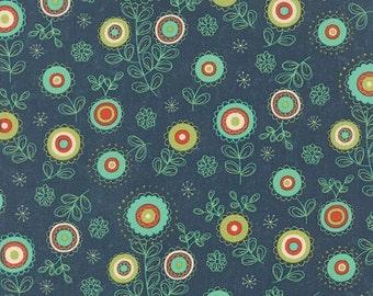 ON SALE Navy Flower Block Party Fabric - Sandy Gervais - Moda - 17811 13