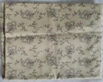 Tan Purple Vine Audra's Iris Garden Fabric - 7/8 yd - Moda - Brannock & Patek