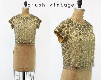 50s Top Beaded XS / 1950s Vintage Silk Gold Rose Blouse / Gold Rose Fringe Blouse