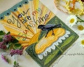 You are my Sunshine sunrise sun daisy black bird Punch Needle Embroidery DIGITAL Jpeg and PDF PATTERN Michelle Palmer Painting with Threads