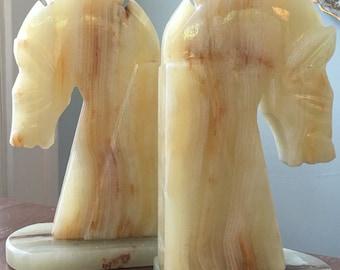 White Onyx Trojan Horsehead Bookends