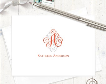 personalized stationery set - LOVELY SCROLL MONOGRAM - set of 8 folded note cards - stationary - monogrammed