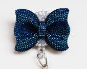 Cobalt Blue Glitter Bow ID Badge Reel - ID Badge Holder - Badge Clip - Zipperedheart