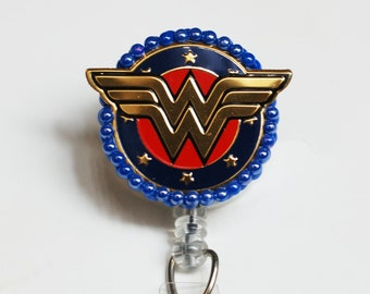 Wonder Woman Iconic Symbol ID Badge Reel - Retractable ID Badge Holder - Zipperedheart
