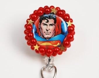 Superman The Man Of Steel ID Badge Reel - Retractable ID Badge Holder - Zipperedheart