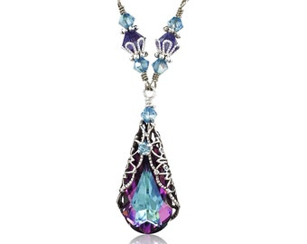 Vintage Pendant Necklace, Vitrail Light Filigree Necklace with Crystal from Swarovski, Teardrop Crystal Necklace