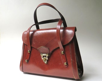 60s/70s vintage Structured Oxblood Leather Handbag / Bags by Josie