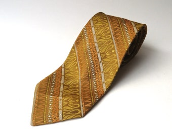 70s vintage Shimmery Mustard Yellow, Orange and Florentine Gold Diagonal Striped and Patterned Tie
