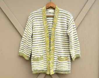 70s vintage Yellow and Grey Space Dye Striped Acrylic Knit Cardigan Sweater