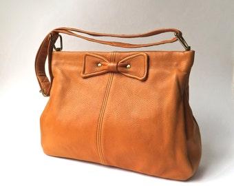 Mid Century vintage Burnt Orange Leather Purse with Bows / Rust Orange Deerskin Leather Purse