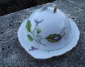 Vintage I. Godinger & Co. Dragonfly Morning Glory Butterfly decorated Covered Butter Dish Cheese Plate