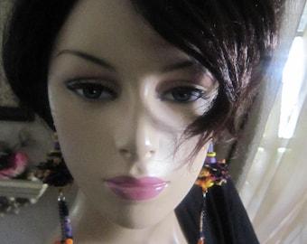 Asymmetrical Whimsically Earrings, Long Chain Earrings, Dusters Earrings, African,  Mismatch, Wearable Art,  Earrings.