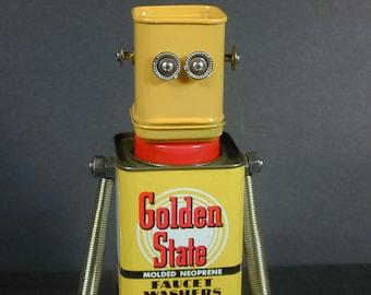 GOLDEN STATE Found Object Robot Sculpture Assemblage