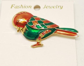 Red and Green Enamel Bird Vintage Pin Brooch