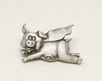 Pewter Pig Vintage Pin with Cape When Pigs Fly